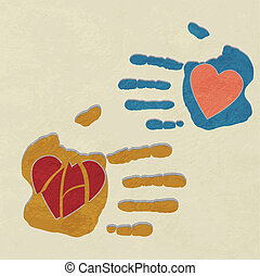 hands holding the heart. charity.broken heart of love. vector background