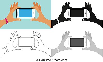 Hands holding the phone, icon set, full color, outline, silhouette, grayscale. Element for instruction, concept for social communication.