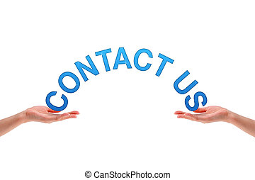 Hands holding the word contact us