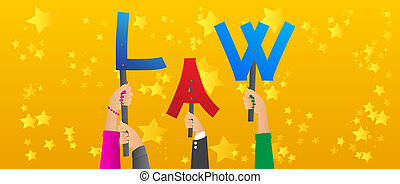 Diverse hands holding letters of the alphabet created the word Law. Vector illustration.