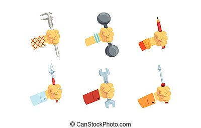 Hands Holding Tools Set, Male Hand with Symbols of Different Professions and Hobbies Vector Illustration
