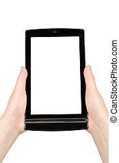 Hands holding touch screen tablet pc with blank screen