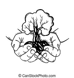 HANDS HOLDING TREE In Sketch Style Vector Illustration Set
