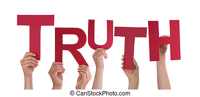 Many Hands Holding the Red Word Truth, Isolated