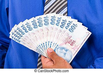 Hands Holding Turkish Lira Banknotes