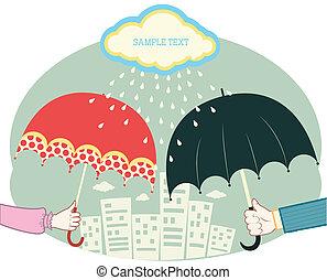Hands holding umbrellas in raining day.Vector retro colored...