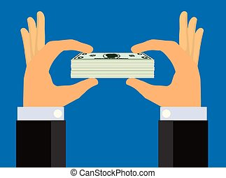 Hands Holding Up A Stack of Cash - Illustration of a...