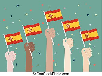 Hands Holding Up Spain Flags