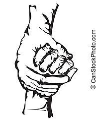hands holding drew in sketch form