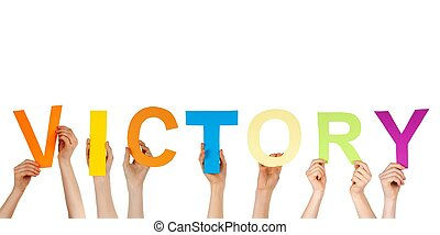 hands holding victory