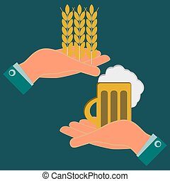 Hands holding wheat ears and a mug of beer. Exchange, investments in agriculture. The production of beer and beverages.