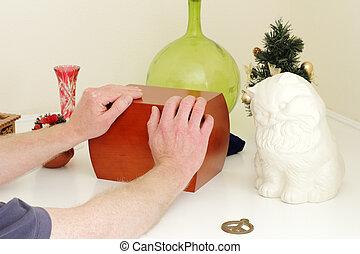 Hands Holding Wood Urn