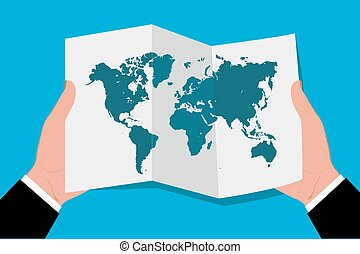 hands holding world map in flat