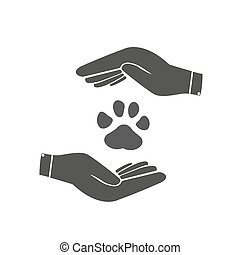 Hands Holds Paw Icon, Dogs Paw Icon Vector Illustration .