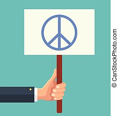 Hands holds sign with Peace sign