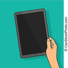 Hands holing tablet computer with blank screen.