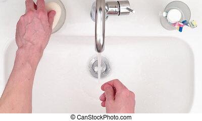hands., -, homme, vue, lave, 4k, sommet