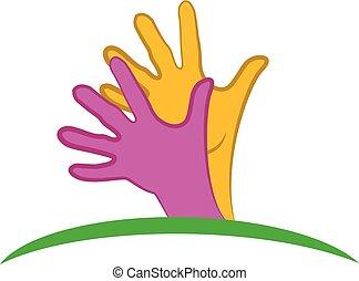 Hands hopeful logo - Hopeful hands icon on white background,...