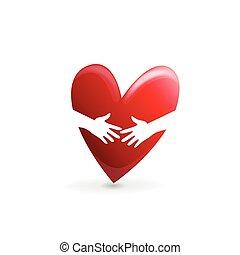 Hands hugs in a love heart logo vector