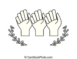 hands human fist with crown of seeds