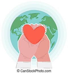 hands human lifting heart in earth planet