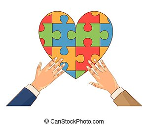 hands human with heart puzzle game pieces