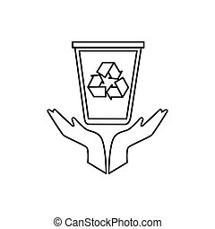 hands human with recycle bin