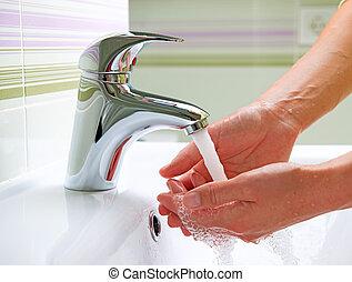 hands., hygien, rensning, tvagning
