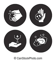 Hands hygiene icons set. White on a black background