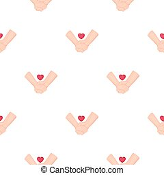 Hands icon in cartoon style isolated on white background. Romantic pattern stock vector illustration.