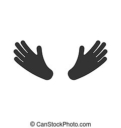 Hands icon. Isolated on white. Vector