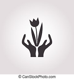 hands icon on white background