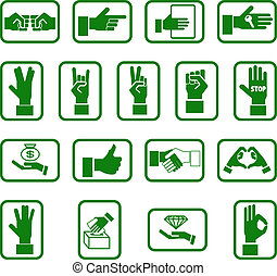 hands icon set - Various hand icons.