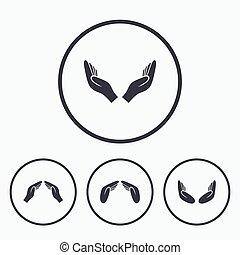 Hands icons. Insurance and meditation symbols.