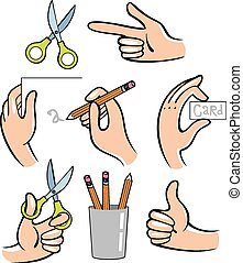 hands., illustration, vektor
