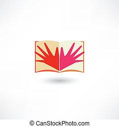 Hands in a book