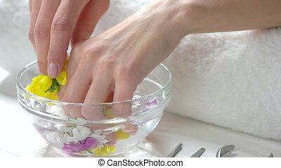 Hands in aroma bath, slow motion.