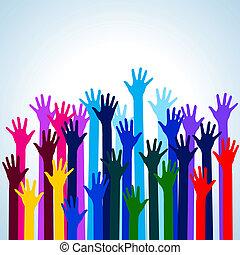 Hands in colors. Illustration on blue background for design