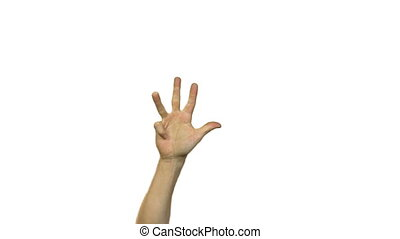 Hands in counting to ten on white background - Footage of...