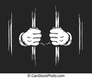 Hands in Cuffs Holding Prison Bars - Hand drawn Prisoner...