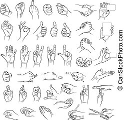 Hands in different interpretations. Vector illustration....