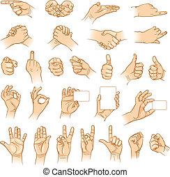Hands in different interpretations. Vector illustration....