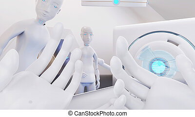 Hands in front of the face. I am a robot point of view. in a bed and technological equipment 3d-illustration