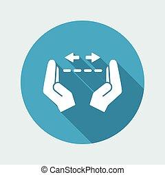 Hands in gesture of measuring - Vector minimal icon
