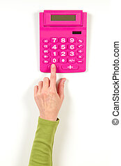 Hands in green jacket and red calculator