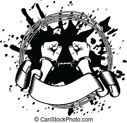 hands in handcuffs - Vector illustration hands in handcuffs
