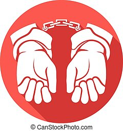 hands in handcuffs flat icon