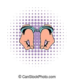 Hands in handcuffs  icon, comics