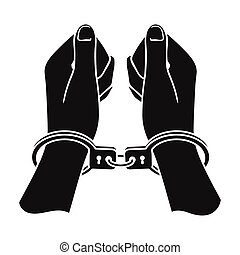 Hands in handcuffs icon in black style isolated on white background. Crime symbol stock vector illustration.