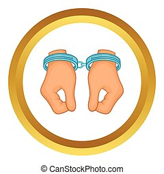 Hands in handcuffs vector icon in golden circle, cartoon...